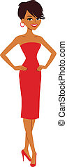 Vector illustration of an elegant beautiful cartoon character woman showing of her red cocktail dress and wearing high heels. It makes a great avatar. Other styles available in this portfolio.