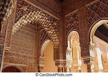 Beautiful carved columns in Alhambra palace in Granada, Spain