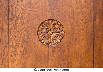 beautiful carved wooden ornament flower