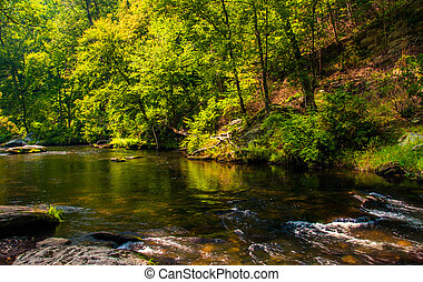 Beautiful cascades on Gunpowder Falls in Baltimore County, Maryland.