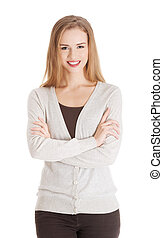 Beautiful casual smiling woman with crossed hands.