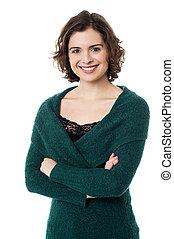 Beautiful casual young woman in winter wear