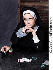 beautiful catholic nun playing cards. Rotten religion