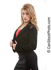 Beautiful caucasian blonde twenties woman