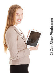 Beautiful caucasian business woman with tablet.