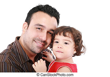 Beautiful caucasian caring daddy holding his daughter in his arms on a white background