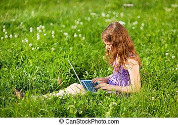 Caucasian child - Beautiful Caucasian child playing games...