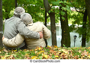 caucasian elderly couple