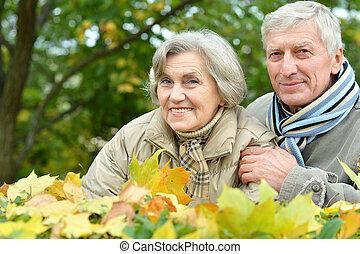 caucasian elderly couple