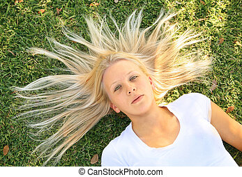 Beautiful Caucasian Female Look Up