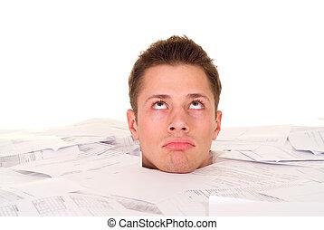 Beautiful Caucasian male's head buried in the paper