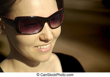 Beautiful Caucasian woman in glasses