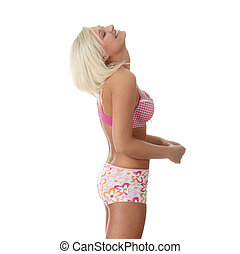 Beautiful caucasian woman in pink underwear