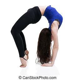 beautiful caucasian woman in yoga pose in studio isolated on...