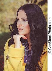 Beautiful caucasian woman looking a