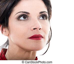 beautiful caucasian woman looking up portrait