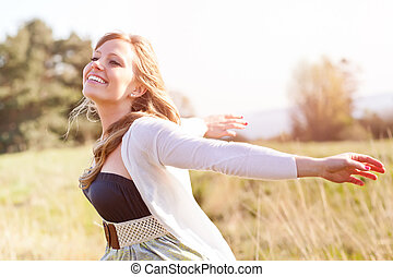 Beautiful Caucasian woman outdoor - A portrait of a ...