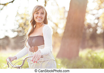 Beautiful Caucasian woman outdoor