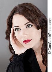 beautiful caucasian woman portrait looking away thinking