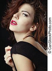 Beautiful Caucasian Woman Posing for Portraits