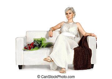Beautiful Caucasian woman sitting