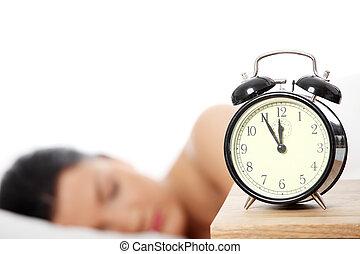 Beautiful caucasian woman sleeping