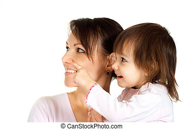 Beautiful Caucasian woman with a daughter