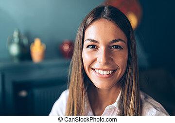 Beautiful caucasian woman with long hair.