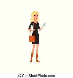 Beautiful caucasian woman with smartphone in hand. Cartoon blonde girl character wearing black dress, brown boots and bag on shoulder. Isolated flat vector design