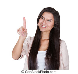 Beautiful Caucasian young woman pointing