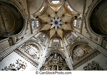 Burgos - Beautiful chapel ceiling. Interior of cathedral in ...