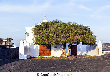 beautiful chapel in Wine area la Geria, Lanzarote.