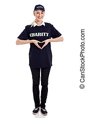 charity worker hands forming a heart shape