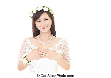 The most wonderful Wife beautiful charming bride beautiful bride in wedding dress stock image csp67677669