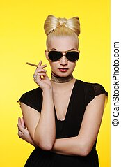 Beautiful charming lady with a cigarette
