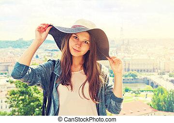 Beautiful charming tourist girl.