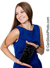 Beautiful cheerful girl with a black purse