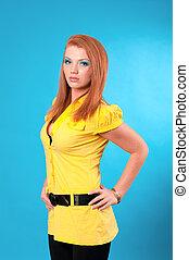 beautiful cheerful redhead woman