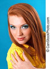 cheerful redhead woman