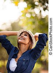 young woman having fun outdoors