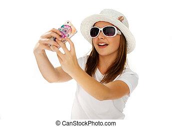 Beautiful chic young girl posing for a selfie - Beautiful...