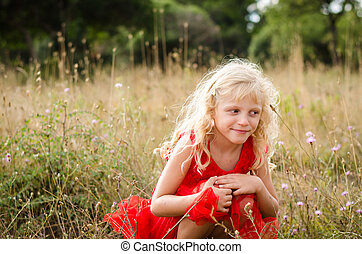 beautiful child in meadow