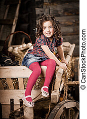 Beautiful  child on the farm