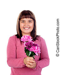 Beautiful child with a pink bouquet of flowers