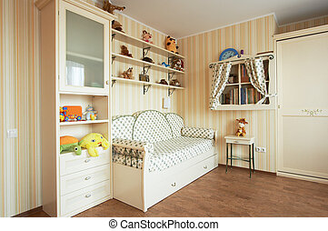 Beautiful children's room in the modern house