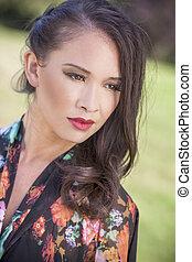Beautiful Chinese Asian Eurasian Girl Woman Outside