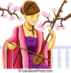 Beautiful Chinese Erhu Player - cartoon illustration of...