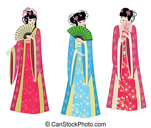 Beautiful Chinese girls in costumes