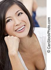 Beautiful Chinese Oriental Asian Woman Smiling