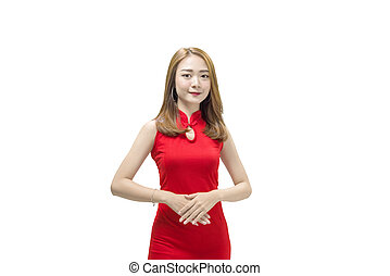 Beautiful chinese woman in traditional dress standing